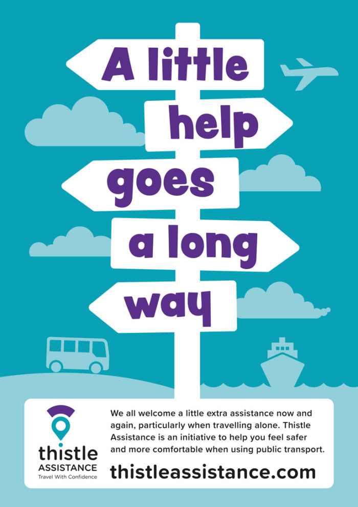 Thistle Assistance poster with green background, including illustrations of a bus and a ferry